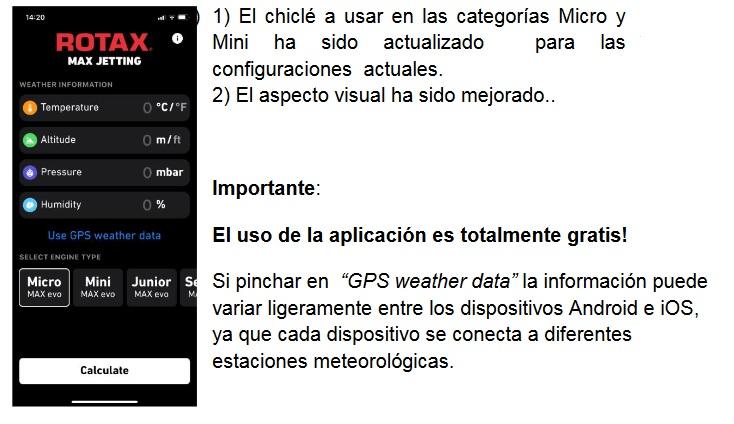 """Actualización aplicación """"Rotax Max Jetting"""""""