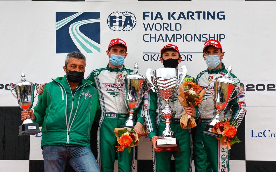 Tony Kart Campeón del mundo con un primer, segundo y tercer puesto en el Mundial OK.